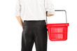 Man holding an empty shopping basket
