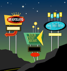 Vector vintage roadside signs