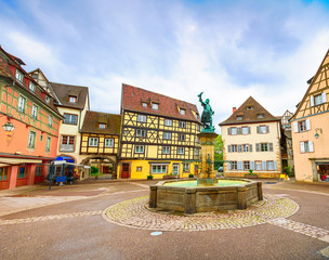 Colmar, Petit Venice, fountain and square. Alsace, France.