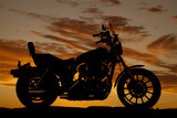Fototapety Silhouette motorcycle side sunset