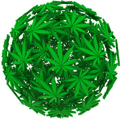 Medical Marijuana Leaf Sphere Background