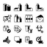 Icon Set  - Dairy production, range, sales, profits