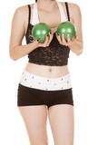 Woman fitness lace top green balls by chest body poster