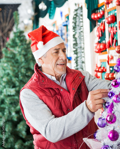 Owner Decorating Christmas Tree At Store
