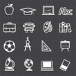 Education back to school icons and black background