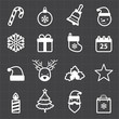 Christmas icons and black background