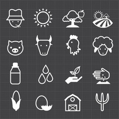 Farming icons and black background