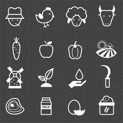 Farm icons and black background
