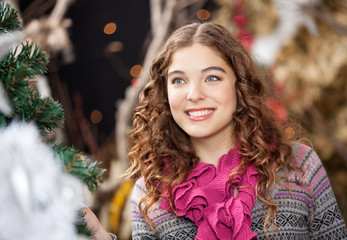 Beautiful Young Woman In Christmas Store