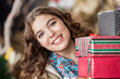 Attractive Woman With Christmas Presents In Store