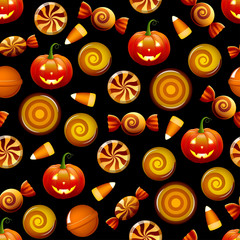 Halloween candy seamless pattern with pumpkins