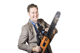 Excited Businessman With Chainsaw