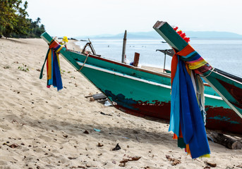 Fishing boats on the sea shore Thailand