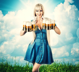 oktoberfest woman with six beer mugs