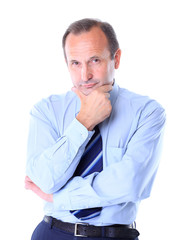 Portrait of an old businessman in suit isolated