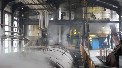 Steam inside of industrial plant