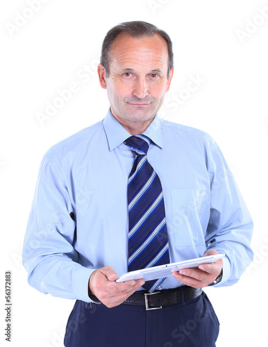 Handsome smiling man with tablet computer.