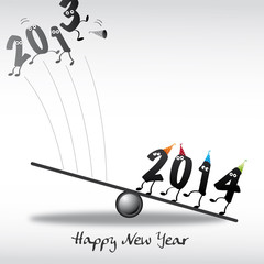 2014 Happy New Year Greeting Card, Zahlen, Katapult