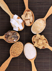 Different types of sugar in spoons on table close-up