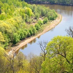 areal view on Gauja river valley in spring in Sigulda, Latvia