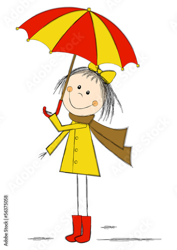 Cute cartoon girl with umbrella