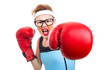 Boxer - fitness woman boxing wearing boxing gloves - 56375467