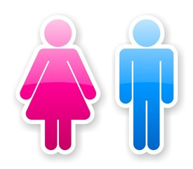 stickers of glossy toilet symbols