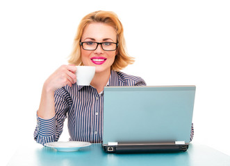 Friendly business woman drinking coffee