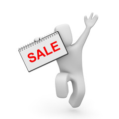 Person with ring board and word sale