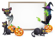Witch and Vampire Bat Halloween Sign