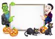 Dracula and Frankenstein Halloween Sign