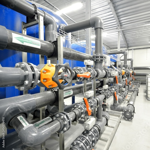 new plastic pipes and equipment in industrial boiler ro