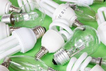Collection of different kind of lightbulbs