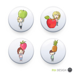 Kids holding colorful fruits printed on button.