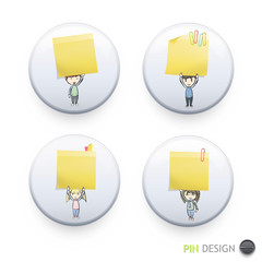 Group of kids holding yellow paper printed on button