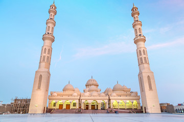 Beautiful architecture of Mosque in Hurghada at dusk, Egypt