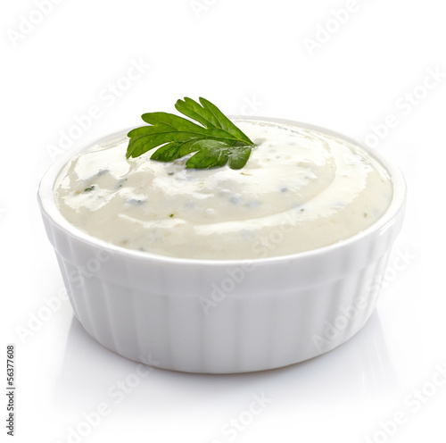 Bowl of fresh garlic dip