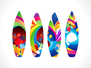 abstract colorful surf board set