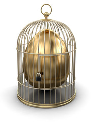 Gold Cage with Egg (clipping path included)