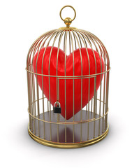 Gold Cage with Heart (clipping path included)