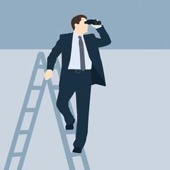 Geschäftsmann auf einem Leiter mit einem Fernglas - Illustration