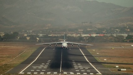 Antonov cargo plane take off in Alicante airport