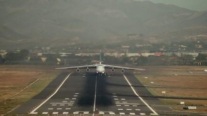 Antonov cargo plane take off in Alicante airport