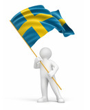 Man and Swedish flag (clipping path included)