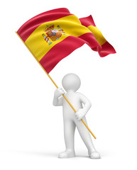 Person with Spanish flag