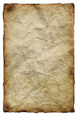 Old yellowed crumpled paper