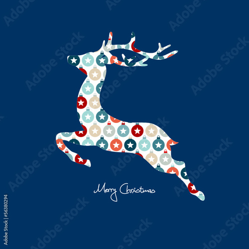 Card Reindeer Abstract Pattern Red/Blue