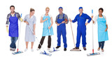Group Of Cleaners With Mop