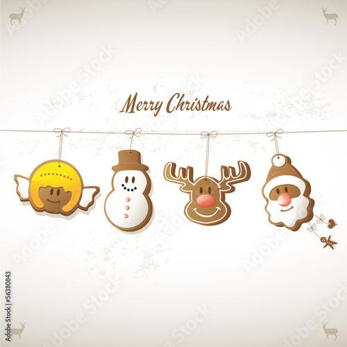 weihnachtskarte – engel, schneemann, rentier, weihnachtsmann