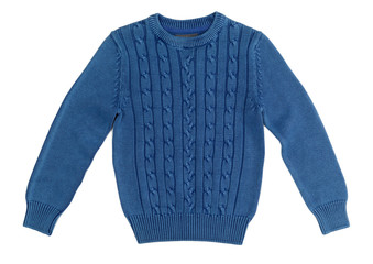 Blue warm knitted sweater with a pattern